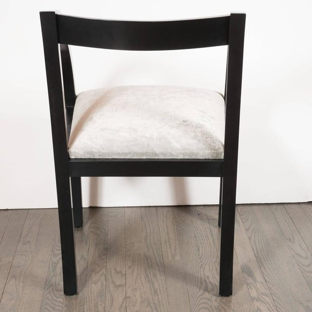 1940s Set of Six Art Deco Dining Chairs by the Modernage Company in Walnut and Velvet For Sale - Image 5 of 8