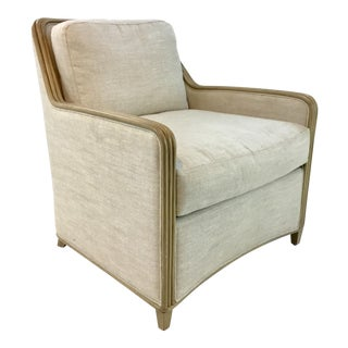 Transitional Palecek Stanford Beige Rattan Trim Lounge Chair For Sale