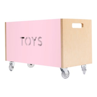 Toy Box Chest on Casters in Birch With Pink Finish For Sale