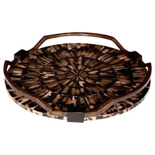 Organic Modern Starburst Tray With Mother of Pearl Inlays by R & Y Augousti For Sale