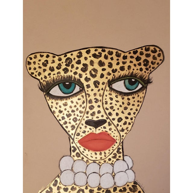"""Glam Cheetah II"" Contemporary Drawing For Sale"