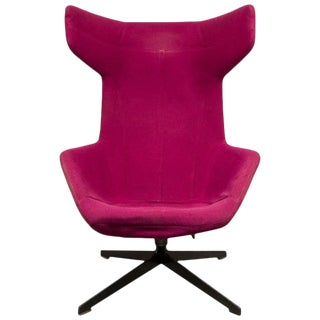 Moroso Lounge Swivel Wingback Chair by Alfredo Haberli, Italy For Sale