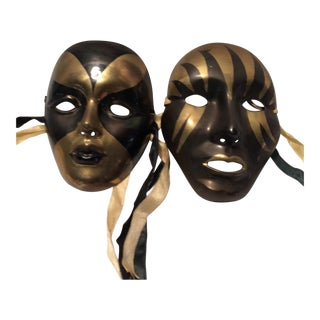 Pair Of Vintage Black & Gold Brass Wall Masks For Sale