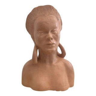 Terra-Cotta Bust by Leona Caldwell 1950 For Sale