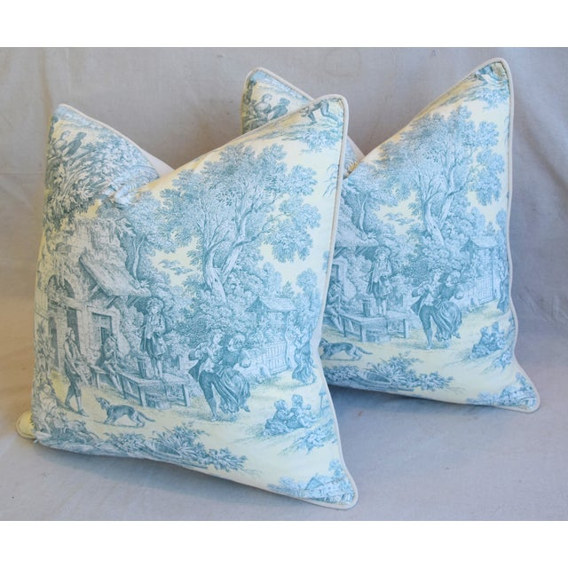 """Blue French Farmhouse Country Toile Feather/Down Pillows 24"""" Square - Pair For Sale - Image 8 of 13"""
