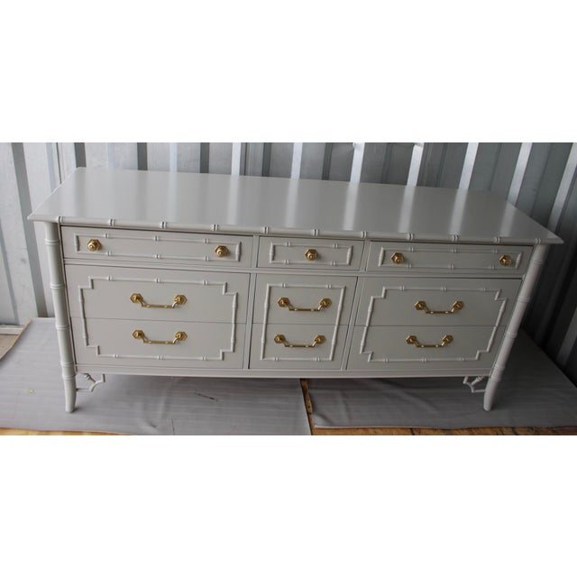 Fabulous faux bamboo chic dresser/media console/TV stand/changing table. Vintage Chinoiserie bamboo dresser/console by...