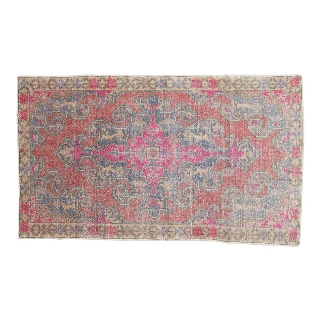 "Vintage Distressed Oushak Rug - 4'7"" x 7'7"" For Sale"