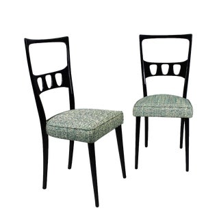 1950s Pair of Chairs, School of Turin, Beech, Fabric - Italy For Sale