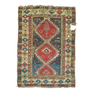 Distressed Caucasian Rug, 3'3'' X 4'5'' For Sale