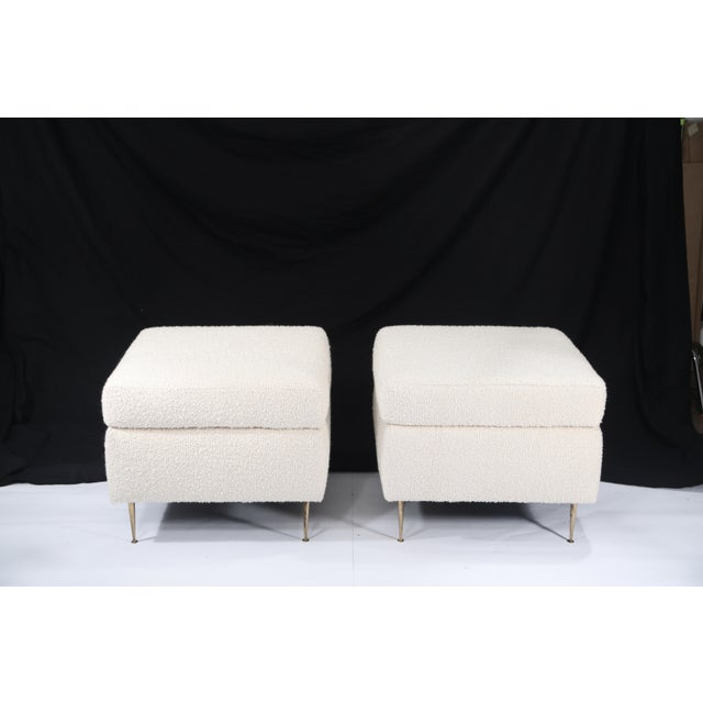 Pair of Italian Mid-Century Modern White Boucle Ottomans on Brass Legs For Sale In Los Angeles - Image 6 of 12