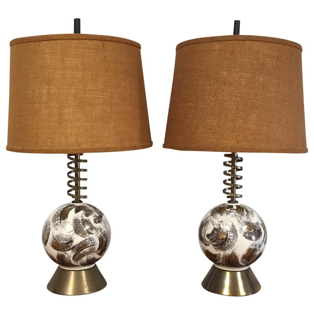 Mid Century Brass Corkscrew Table Lamps - A Pair - Image 1 of 10
