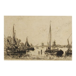 Dutch Harbor Scene Etching 1877 For Sale