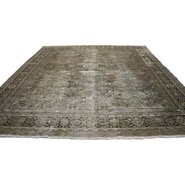Asian Distressed Antique Persian Mahal with Industrial Aesthetic For Sale - Image 3 of 6