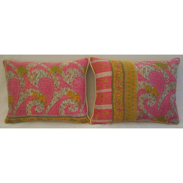 Boho Chic Vintage Kantha Textile Pillows - a Pair For Sale - Image 3 of 11