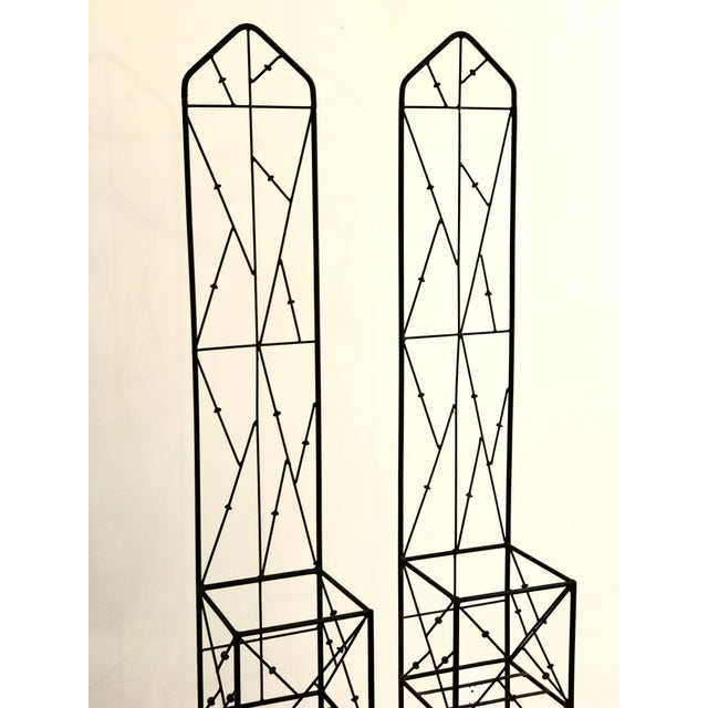 Late 20th Century Iron Trellis Plant Stands - a Pair For Sale - Image 4 of 12