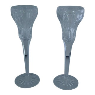 Elegant Marquis by Waterford Canterbury Candlesticks S/2 For Sale