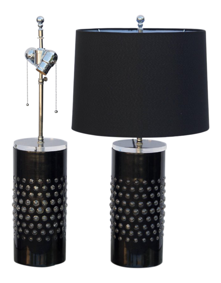 glass cylinder lamp glass column 1980s textured glass cylinder lamps with custom shades pair for sale superior