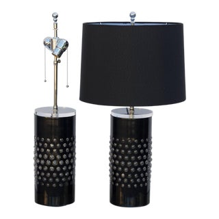 1980s Textured Glass Cylinder Lamps With Custom Shades - a Pair For Sale
