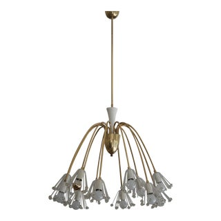Large Mid-Century Brass Chandelier by Emil Stejnar for Rupert Nikoll For Sale