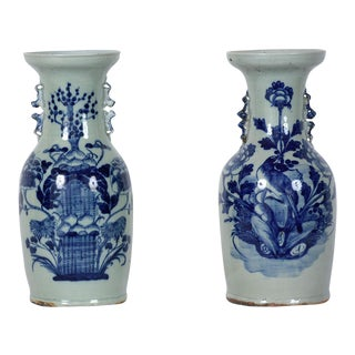 Pair of Chinese Blue and White Ceramic Vases For Sale