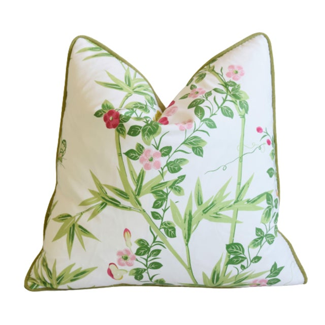 """Scalamandré Floral De Jardin Chine Feather/Down Pillow 20"""" Square For Sale In Los Angeles - Image 6 of 6"""