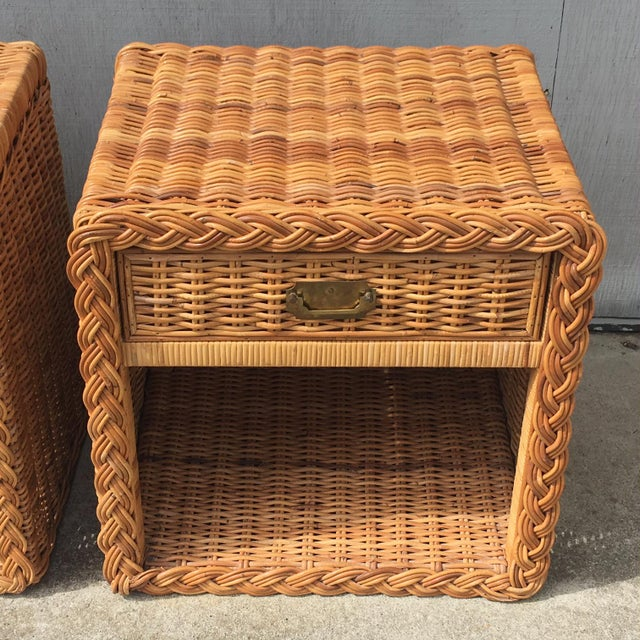 1970s Wicker Works Rattan Campaign Style Nightstands-a Pair For Sale - Image 4 of 7