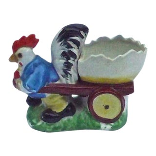 Vintage Porcelain Chicken & Cart Egg Cup For Sale