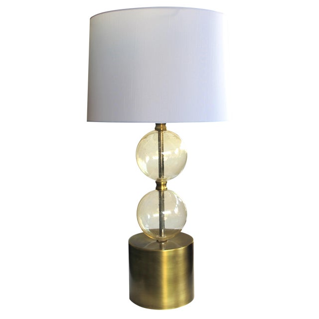 Murano Mid Century Lamp of Stacked Gold Orbs For Sale
