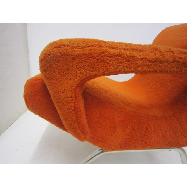 Metal Mid-Century Italian Upholstered Lounge Slipper Chairs - a Pair For Sale - Image 7 of 13