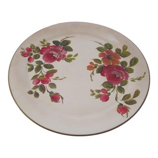 Large Round Hand-Painted Tole Tray For Sale