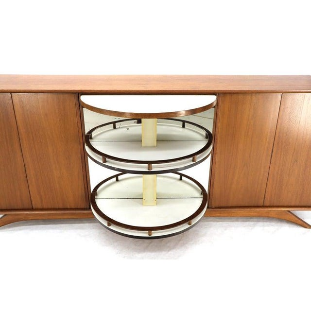 Swivel Centre Bar Walnut Mid-Century Modern Credenza Sideboard Sculptural Legs For Sale - Image 11 of 13