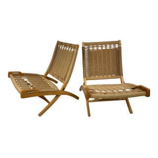 Hans Wegner Style Mid-Century Woven Folding Chair With Handles - a Pair For Sale
