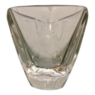 Val St. Lambert Wheel Cut Art Glass Vase