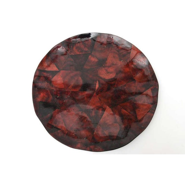 Red 1970s Boho Chic Maitland Smith Tesselated Coconut Shell Tray For Sale - Image 8 of 11
