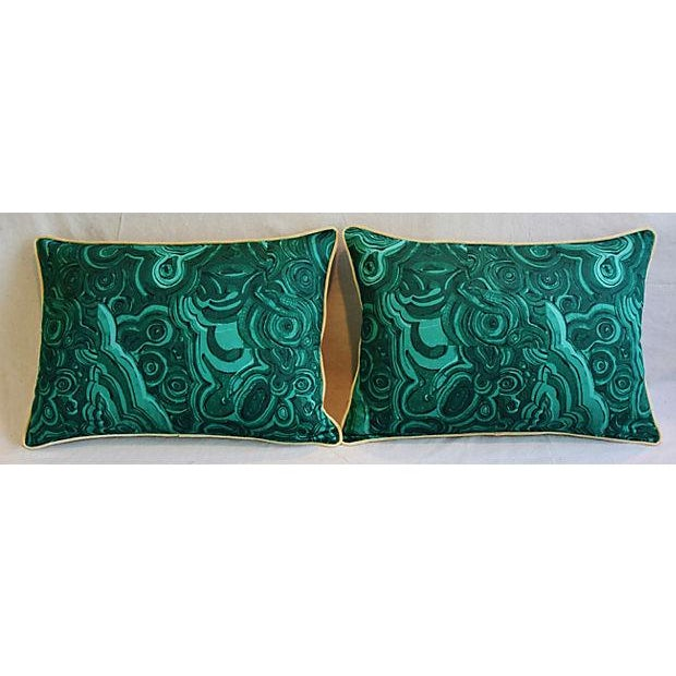 """25"""" X 18"""" Custom Tailored Jim Thompson Malachite Green Feather/Down Pillows - Pair For Sale - Image 9 of 11"""