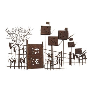 Mid Century Curtis Jere Country Road Brutalist Metal Wall Sculpture For Sale