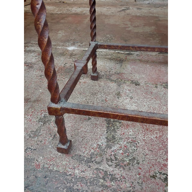 Black Vintage Wrought Iron & Leather Top Sofa Table Console For Sale - Image 8 of 10