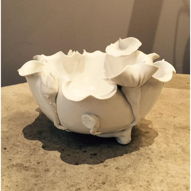 Asian Chinese White Porcelain Lotus Bowl For Sale - Image 3 of 5