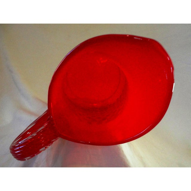 Mid Century Hand Blown Red Glass Water Pitcher - Image 4 of 4