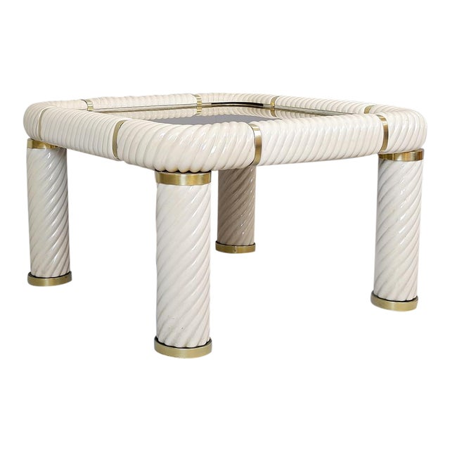 1970s Tommaso Barbi Ceramic and Brass Coffee Table For Sale