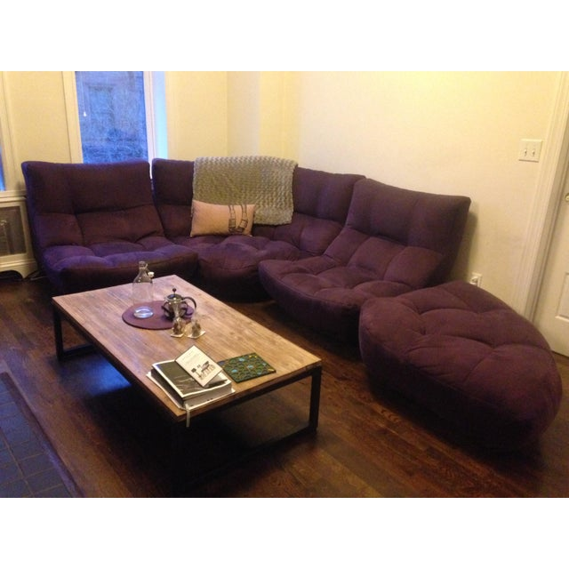 4-Piece Curved Sectional Sofa For Sale - Image 9 of 9