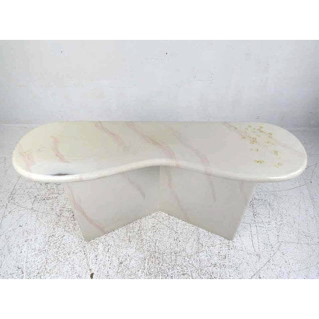 Mid-Century Modern Midcentury Faux Goatskin Console Table For Sale - Image 3 of 12