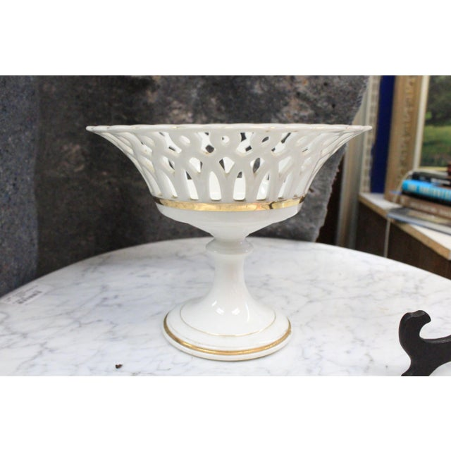 Ceramic Traditional White Punched Compote For Sale - Image 7 of 7