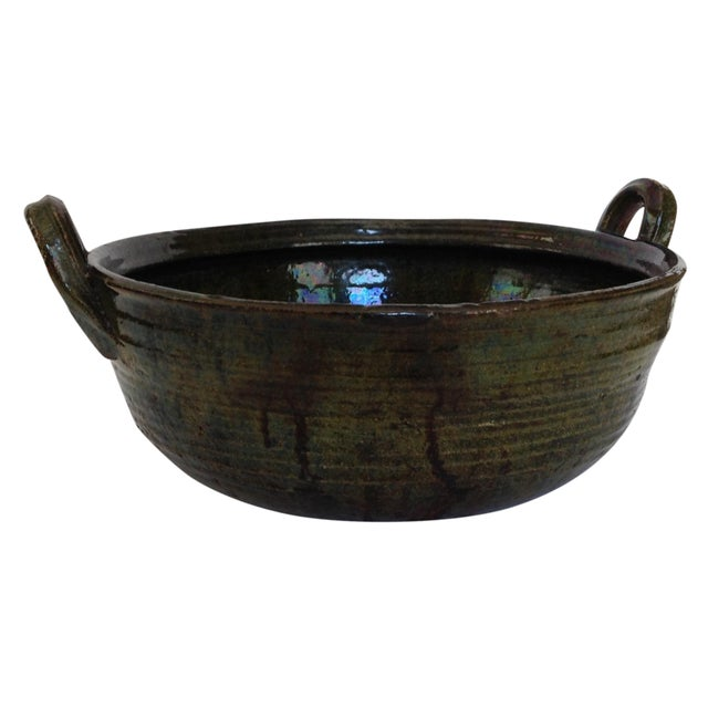 Vintage Rustic Green Studio Pottery Bowl - Image 1 of 9