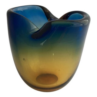 20th Century Contemporary Murano Sommerso Cobalt Topaz Pinched Art Glass Vessel