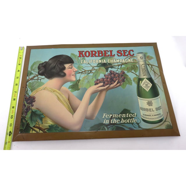 1920s Antique California Champagne Advertising Sign For Sale - Image 12 of 13