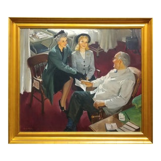 George Rapp - Young Girl First Doctor Visit - Oil Painting on canvas -circa 1930s