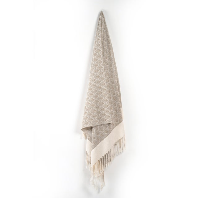 Beige Mute Eloquence Handmade Organic Cotton Towel in Beige For Sale - Image 8 of 8
