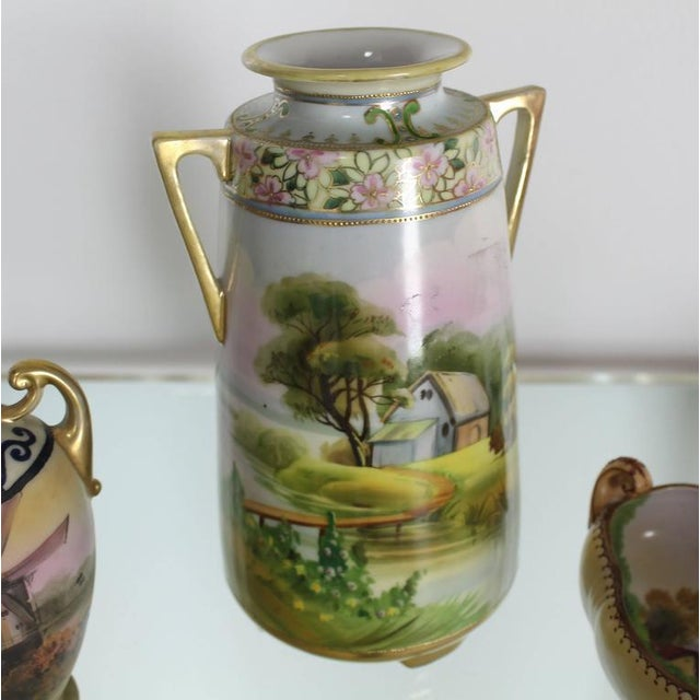 Fine Nippon Hand Painted Porcelain Vases And Bowl Three Pieces