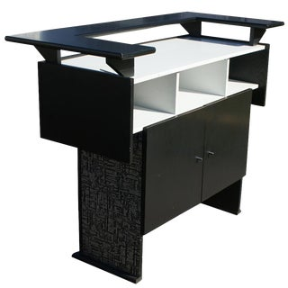Mid-Century Modern Ebonized Mini Cocktail Bar For Sale